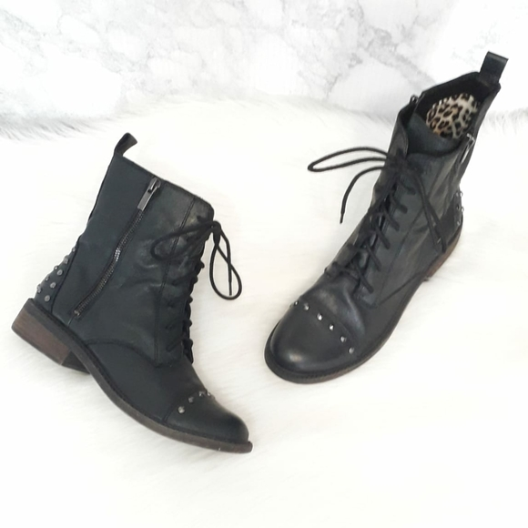 Black Leather Combat Boots   Poshmark